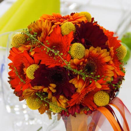 Brautstrauß in Orange mit Gerbera