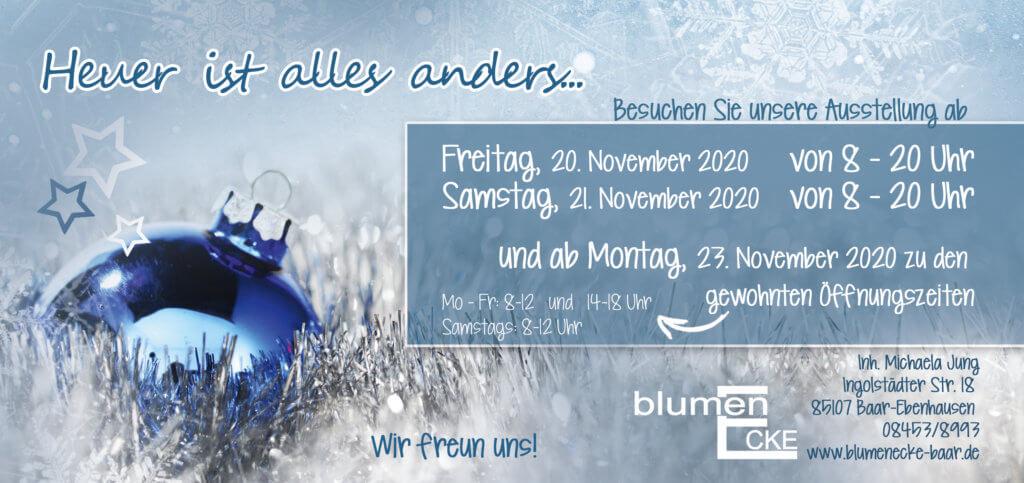 Adventsausstellung2020 Blumenecke Baar Einladung